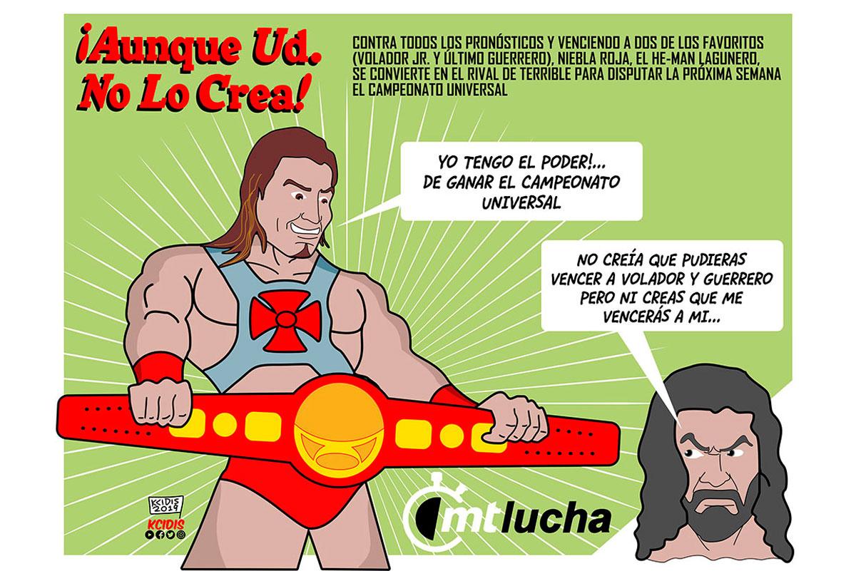 dibujo de lucha libre, luchador niebla roja y el terrible del cmll, por kcidis